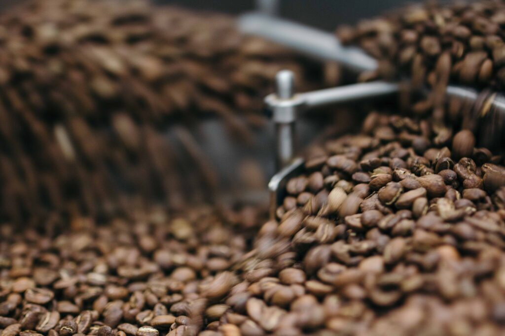coffee beans being grinded
